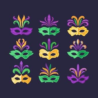Conjunto de máscaras de carnaval