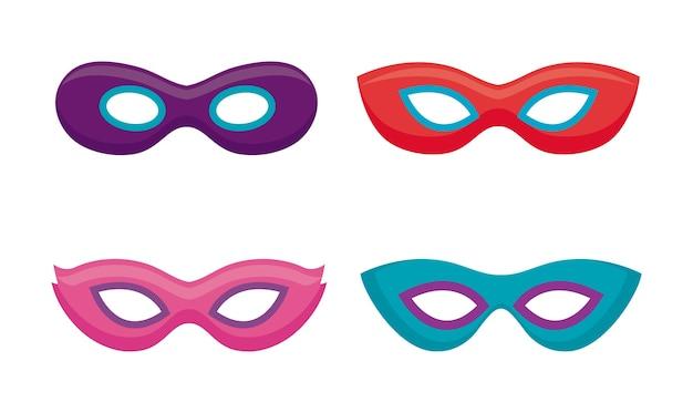 Conjunto de máscaras de la celebración del carnaval.