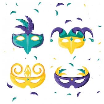 Conjunto de máscaras de celebración de carnaval