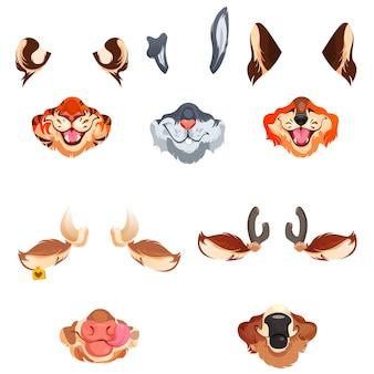 Conjunto de máscaras faciales de animales
