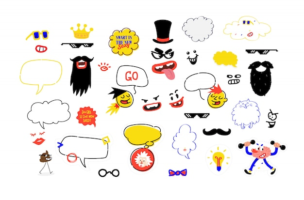 Un conjunto de máscaras para fiestas. una ilustración simulada del bigote, gafas y accesorios para la fiesta. ilustracion vectorial