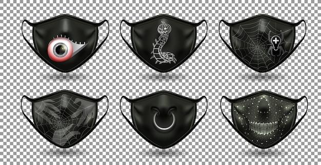 Un conjunto de máscaras negras cómicas protectoras. para la fiesta del coronavirus, halloween y otras diversiones.