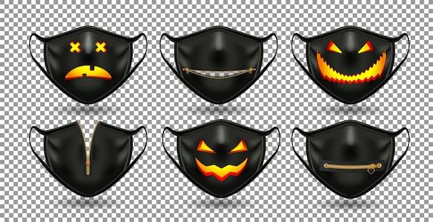 Un conjunto de máscaras negras cómicas protectoras. para la fiesta del coronavirus, set de halloween
