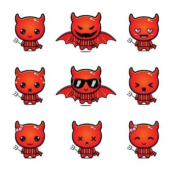 Conjunto de mascota linda diablo