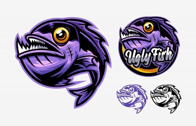Conjunto de mascota de logo de pez feo