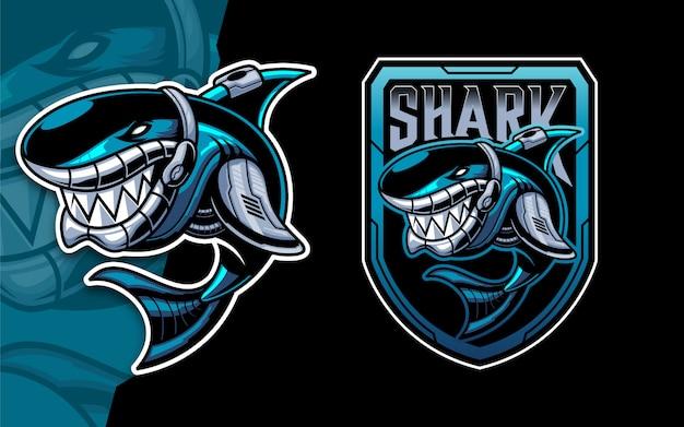 Conjunto de mascota de logotipo de esport tiburón robot