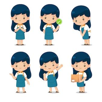 Conjunto de mascota de personaje de asistente de tienda linda en delantal uniforme ilustración