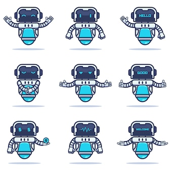 Conjunto de una mascota robot de hierro
