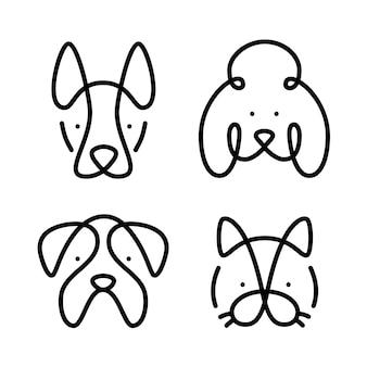 Conjunto de mascotas línea de arte gato y perros. diseño simple