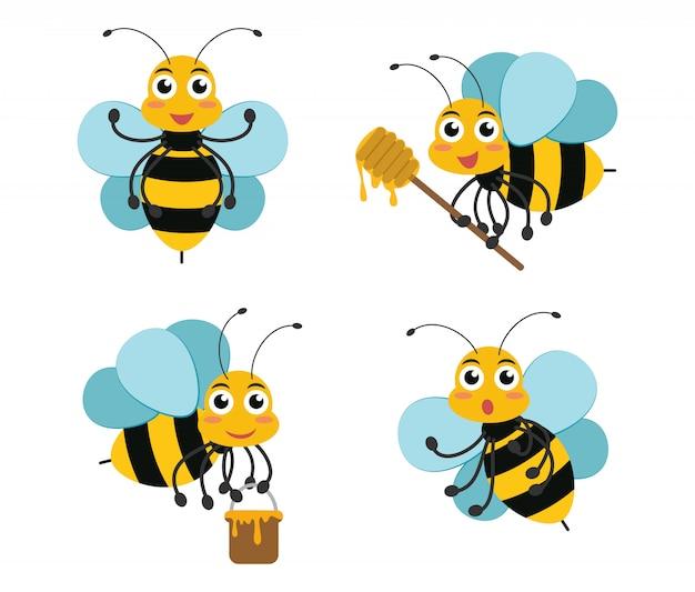 Conjunto de mascotas de personaje de abeja de dibujos animados lindo