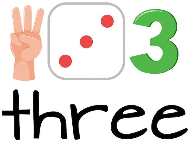 Conjunto de matemáticas contando el número tres