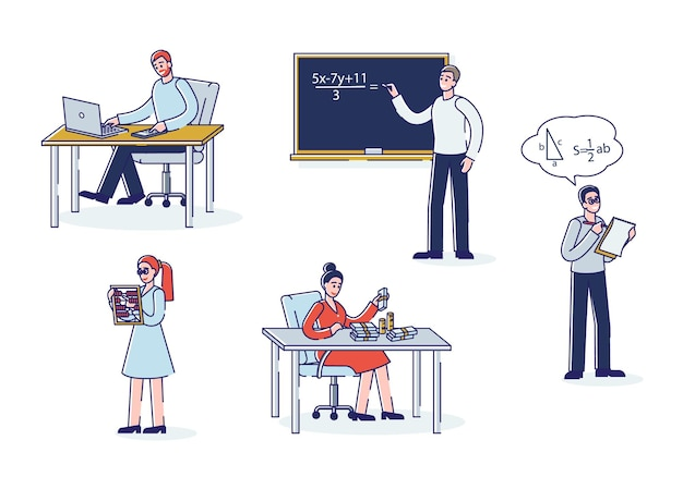 Conjunto de matemáticas y conteo de personajes de dibujos animados contando dinero