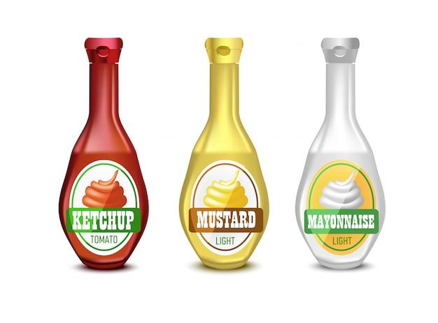Conjunto de mayonesa de plástico en blanco, mostaza y botella de salsa de tomate para branding con etiqueta