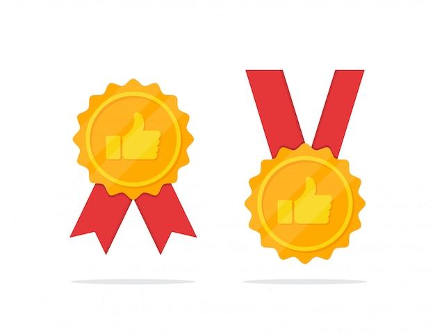 Conjunto de medalla de oro con el icono del pulgar hacia arriba en un diseño plano