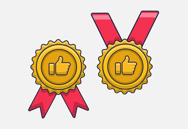 Conjunto de medalla de oro con like.