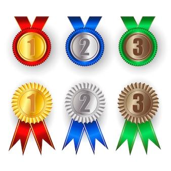 Conjunto de medalla de oro, plata y bronce.