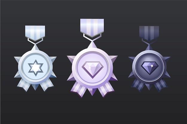 Conjunto de medalla de recompensa de plata, negro y rosa claro para la interfaz de usuario del juego. prima