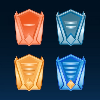 Conjunto de medallas de bronce de la insignia de la interfaz de usuario del juego de fantasía