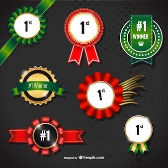 Conjunto de medallas de ganador