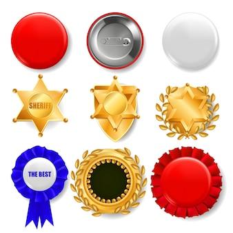 Conjunto de medallas, insignias y escudos.