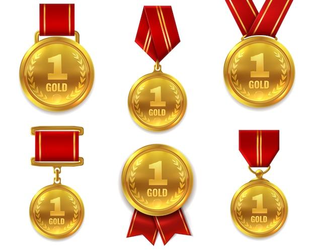 Conjunto de medallas de oro campeón