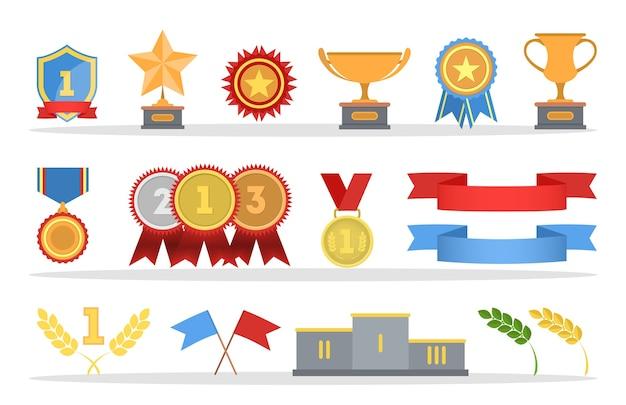 Conjunto de medallas de oro y copas de trofeo. insignias de metal con cintas rojas. ilustración