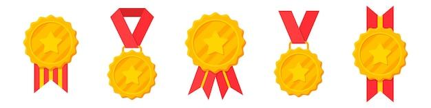 Conjunto de medallas de oro ganador con cinta roja y estrella.