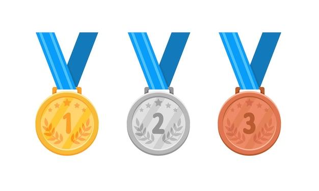 Conjunto de medallas de oro, plata y bronce en blanco