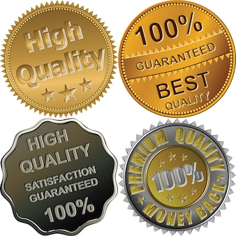 Conjunto de medallas de oro, plata y bronce para la mejor, premium, alta calidad, garantizada, aislado en el fondo blanco.