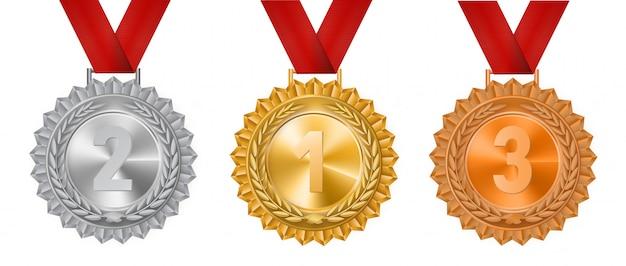 Conjunto de medallas de oro, plata y bronce