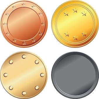 Conjunto de medallas de oro, plata, cobre, bronce