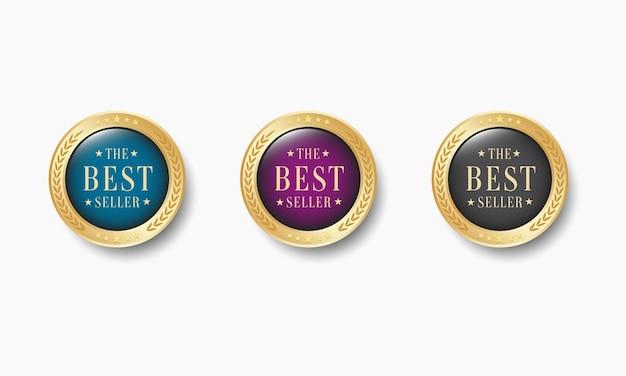 Conjunto de medallas de oro de superventas realistas
