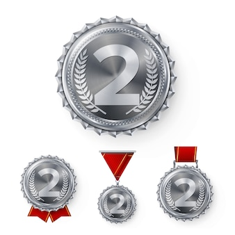 Conjunto de medallas de plata campeón