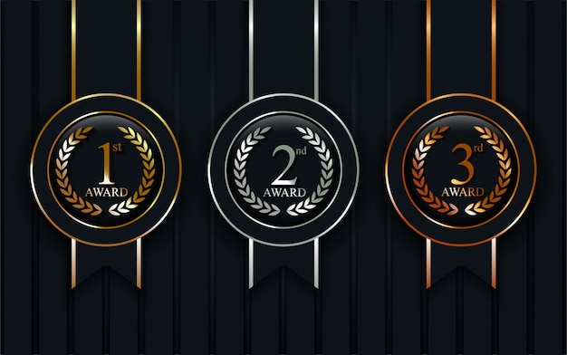 Conjunto de medallas realistas de oro, plata, bronce.