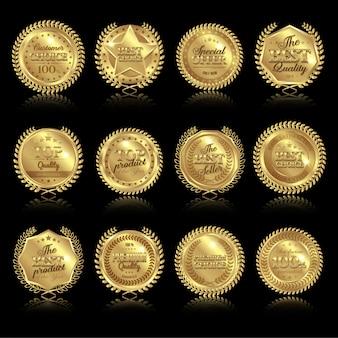 Conjunto de medallas con reflejos
