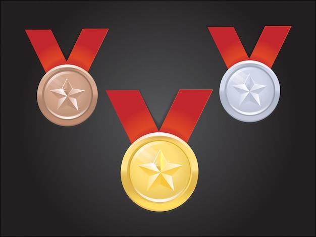 Conjunto de medallas vectoriales con estrella.
