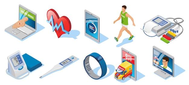 Conjunto de medicina digital isométrica con aplicaciones para monitoreo de la salud, entrenamiento cardiovascular, termómetro electrónico, pulsera inteligente, consulta en línea, aislado