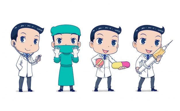 Conjunto de médico de dibujos animados en diferentes poses
