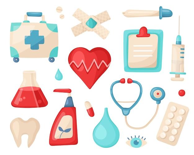 Conjunto médico de elementos para tratamiento y cuidado de la salud.
