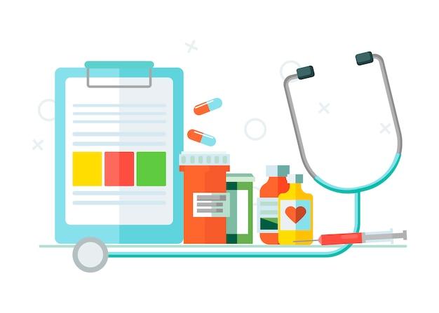 Conjunto médico de objetos.