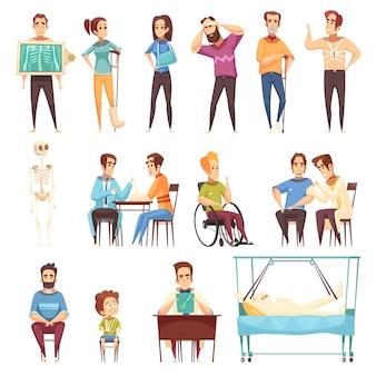 Conjunto de médico traumatólogo y ortopedista