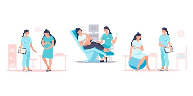 Conjunto de médico visitante de la mujer embarazada para el examen, escaneo del ecografista, preparación para el parto. feliz futura madre en el chequeo médico. concepto de embarazo y maternidad. ilustración vectorial plana