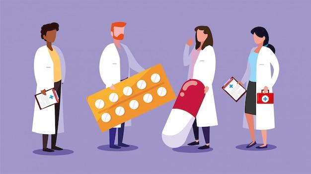 Conjunto de médicos con botiquín de primeros auxilios