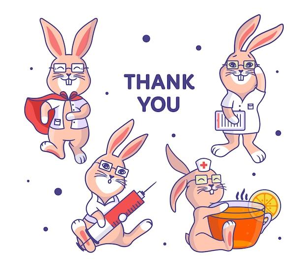 Conjunto de médicos de conejito. colección de conejos caricaturizados que son médicos con una frase.
