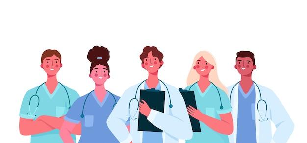 Conjunto de médicos en diseño plano