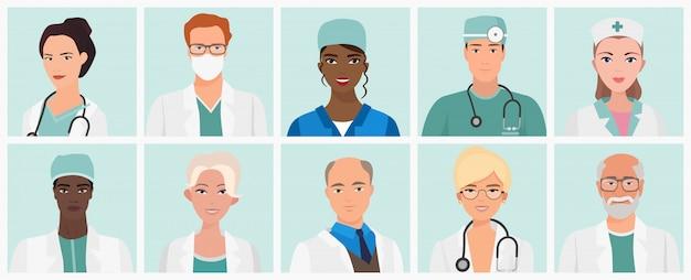 Conjunto de médicos y enfermeras avatares. iconos de personal médico.