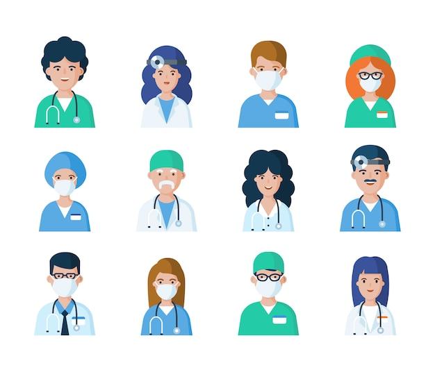 Conjunto de médicos, enfermeras y otros avatares de empleados del hospital. ilustración de personajes de vector plano. caras de personal médico en estilo de dibujos animados