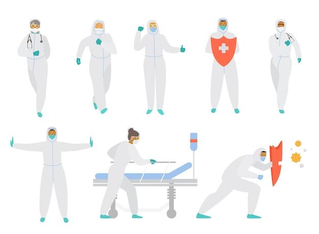 Conjunto de médicos con monos protectores, máscaras, gafas y guantes en diferentes poses.