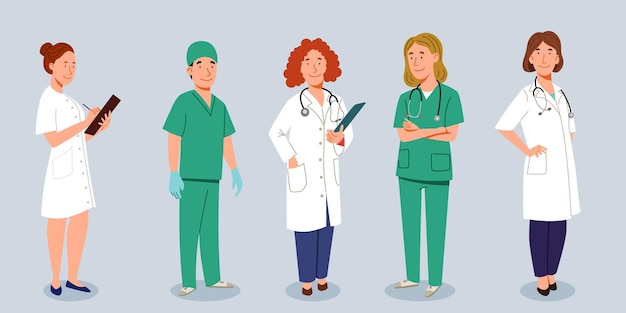 Un conjunto de médicos. el personal médico es un médico y una enfermera, un grupo de médicos. ilustración de vector de estilo plano.