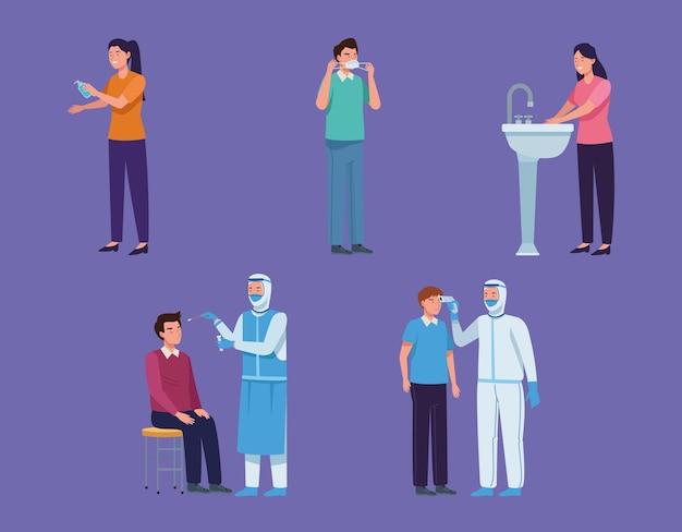 Conjunto de médicos en traje y personas.